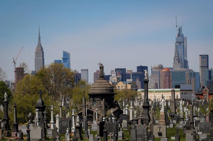 A view of the Manhattan skyline as seen from Calvary Cemetery during the outbreak of the coronavirus disease (COVID-19) in Queens, New York