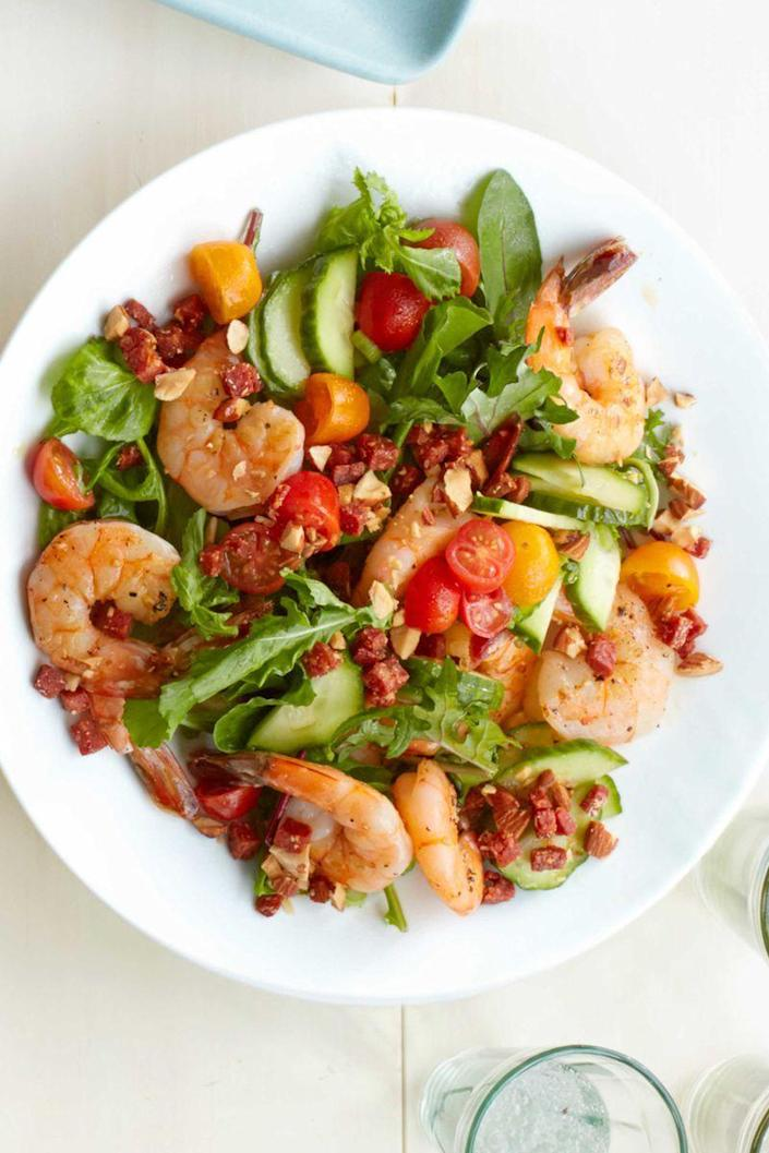 """<p>Crispy bits of chorizo are better than croutons every day of the week.</p><p><em><a href=""""https://www.womansday.com/food-recipes/food-drinks/recipes/a54826/shrimp-salad-with-crispy-chorizo-and-almonds-recipe/"""" rel=""""nofollow noopener"""" target=""""_blank"""" data-ylk=""""slk:Get the Shrimp Salad with Crispy Chorizo and Almonds recipe."""" class=""""link rapid-noclick-resp"""">Get the Shrimp Salad with Crispy Chorizo and Almonds recipe.</a></em></p>"""