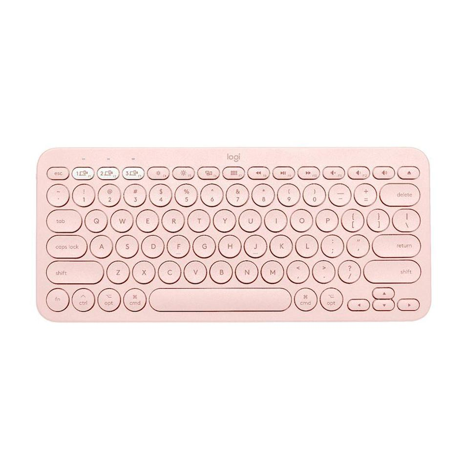 """<p><strong>Logitech</strong></p><p>amazon.com</p><p><strong>$39.99</strong></p><p><a href=""""https://www.amazon.com/dp/B0876P8VHN?tag=syn-yahoo-20&ascsubtag=%5Bartid%7C2089.g.2817%5Bsrc%7Cyahoo-us"""" rel=""""nofollow noopener"""" target=""""_blank"""" data-ylk=""""slk:Shop Now"""" class=""""link rapid-noclick-resp"""">Shop Now</a></p><p>The K380 by Logitech is our favorite budget-friendly wireless keyboard. A <a href=""""https://thewirecutter.com/reviews/the-best-bluetooth-keyboard/"""" rel=""""nofollow noopener"""" target=""""_blank"""" data-ylk=""""slk:top pick by Wirecutter"""" class=""""link rapid-noclick-resp"""">top pick by Wirecutter</a>, the compact accessory is a true powerhouse that can connect with up to three devices — whether they run Mac OS X, Android, iOS, Windows, or Chrome.<br></p><p>The K380 keyboard is comfortable, sturdy, and portable. It also looks great. We like that it can last for up to 2 years before its AAA battery needs a replacement. There are four colors to pick from: rose, <a href=""""https://www.amazon.com/dp/B0882HLBNY?tag=syn-yahoo-20&ascsubtag=%5Bartid%7C2089.g.2817%5Bsrc%7Cyahoo-us"""" rel=""""nofollow noopener"""" target=""""_blank"""" data-ylk=""""slk:white"""" class=""""link rapid-noclick-resp"""">white</a>, <a href=""""https://go.redirectingat.com?id=74968X1596630&url=https%3A%2F%2Fwww.bestbuy.com%2Fsite%2Flogitech-k380-multi-device-bluetooth-scissor-keyboard-gray%2F4415400.p%3FskuId%3D4415400&sref=https%3A%2F%2Fwww.bestproducts.com%2Ftech%2Fgadgets%2Fg2817%2Fessential-laptop-accessories-gadgets%2F"""" rel=""""nofollow noopener"""" target=""""_blank"""" data-ylk=""""slk:dark gray"""" class=""""link rapid-noclick-resp"""">dark gray</a> and <a href=""""https://go.redirectingat.com?id=74968X1596630&url=https%3A%2F%2Fwww.logitech.com%2Fen-us%2Fproduct%2Fmulti-device-keyboard-k380&sref=https%3A%2F%2Fwww.bestproducts.com%2Ftech%2Fgadgets%2Fg2817%2Fessential-laptop-accessories-gadgets%2F"""" rel=""""nofollow noopener"""" target=""""_blank"""" data-ylk=""""slk:blue"""" class=""""link rapid-noclick-resp"""">blue</a>. </p><p><strong>More: </strong><a href=""""https://www.bestproducts.c"""