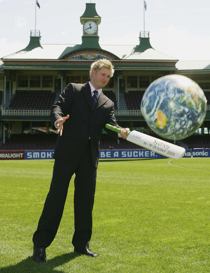 SYDNEY, NSW - SEPTEMBER 20:  Michael Clarke of Australia hits around a blow up globe for photographers during a press conference to announce the Australian teams for the Johnnie Walker Super Series, at the Sydney Cricket Ground September 20, 2005 in Sydney, Australia.  (Photo by Chris McGrath/Getty Images)