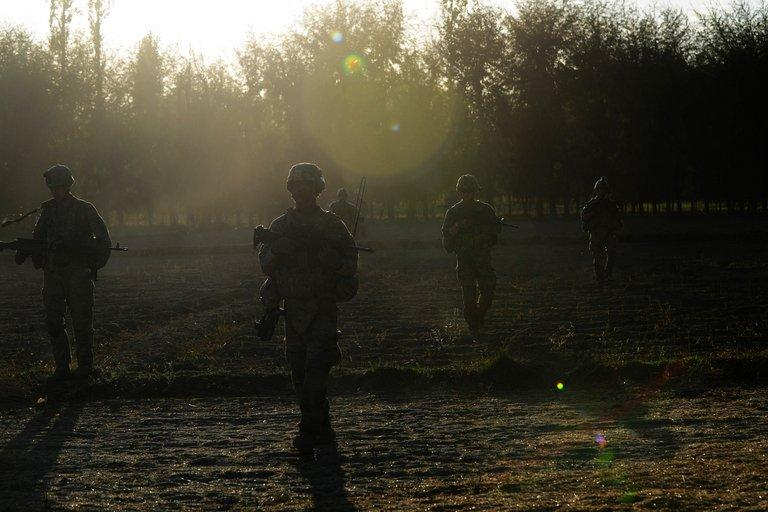 US soldiers on patrol near Baraki Barak base in Afghanistan's Logar Province on October 11, 2012
