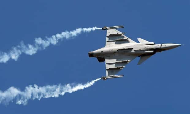 Gripen, a Swedish fighter aircraft, performs on the second day of Aero India 2017 at Yelahanka air base in Bangalore, India, Wednesday, Feb. 15, 2017. Saab offered the latest version of the fighter as part of its pitch to sell Canada a new fleet of fighter jets.
