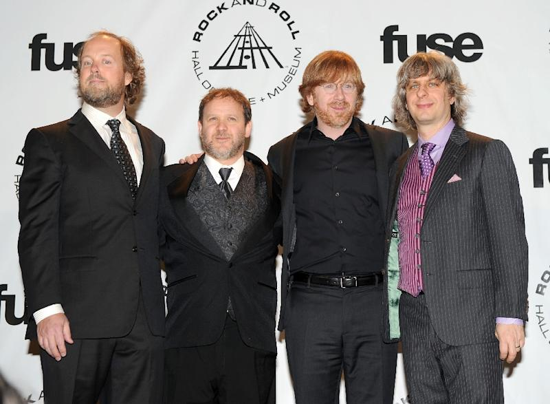 Musicians Page McConnell, Jon Fishman, Trey Anastasio and Mike Gordon of Phish as they attend the 25th Annual Rock And Roll Hall of Fame Induction Ceremony in New York on March 15, 2010