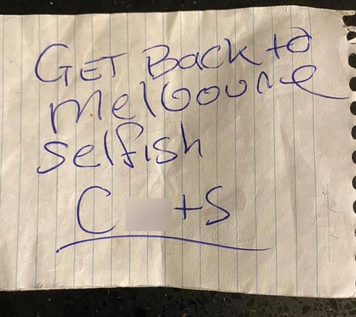 A woman from regional Victoria found a nasty note left on her car. Source: Facebook