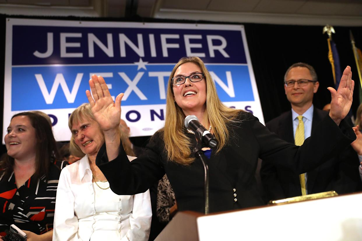 Representative-elect Jennifer Wexton, a Democrat from Virginia, center, speaks during an election night rally in Dulles, Virginia, U.S., on Tuesday, Nov. 6, 2018. Wexton defeated two-term Republican incumbent Barbara Comstock, ousting a Republican in a northern Virginia district that was arguably the top target for Democrats in their effort to take back the House majority, according to projections from NBC and CNN. (Photo: Andrew Harrer/Bloomberg via Getty Images)