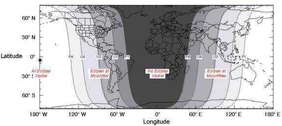 The full eclipse will be visible over most of the Pacific Ocean and adjacent mainland. Eastern North America will see part of the eclipse just before dawn. Much of eastern Asia and all of Australia will see the eclipse just after sunset.