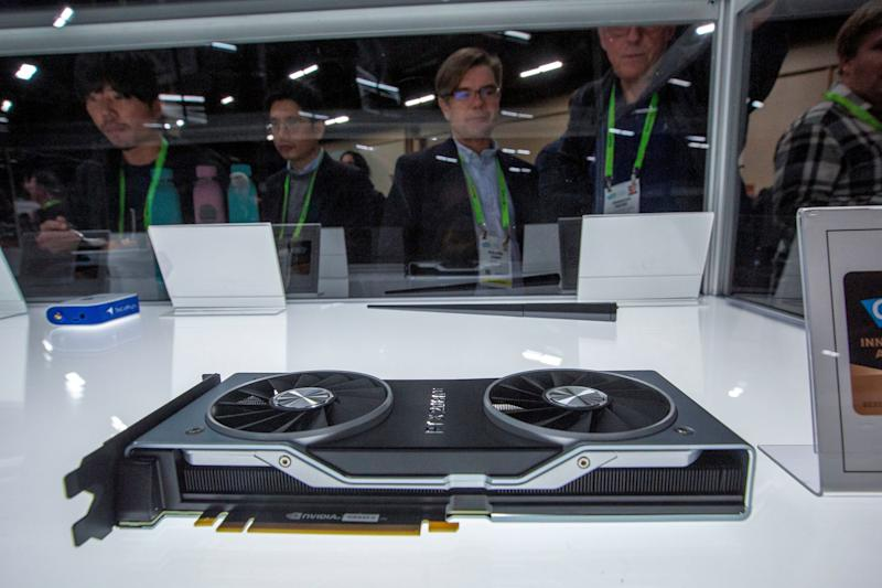 The NVIDIA GeForce RTX 20-Series GPUs is among the CES 2019 Innovation awards winners displayed during the CES Unveiled Las Vegas event in advance of the 2019 Consumer Electronics Show in Las Vegas, Nevada, on January 6, 2018. - The massive consumer-electronics show opens to attendees on January 8. (Photo by DAVID MCNEW / AFP) (Photo credit should read DAVID MCNEW/AFP/Getty Images)