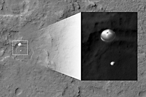 Curiosity and its parachute are in the center of the white box, while the inset image is a cutout of the rover