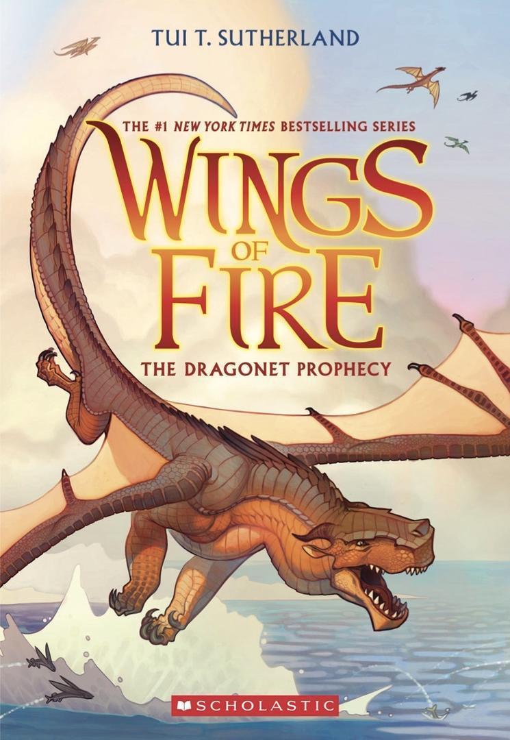 cover photo of Wings of fire book with reddish brown lettering and a photo of an animated brown dragon