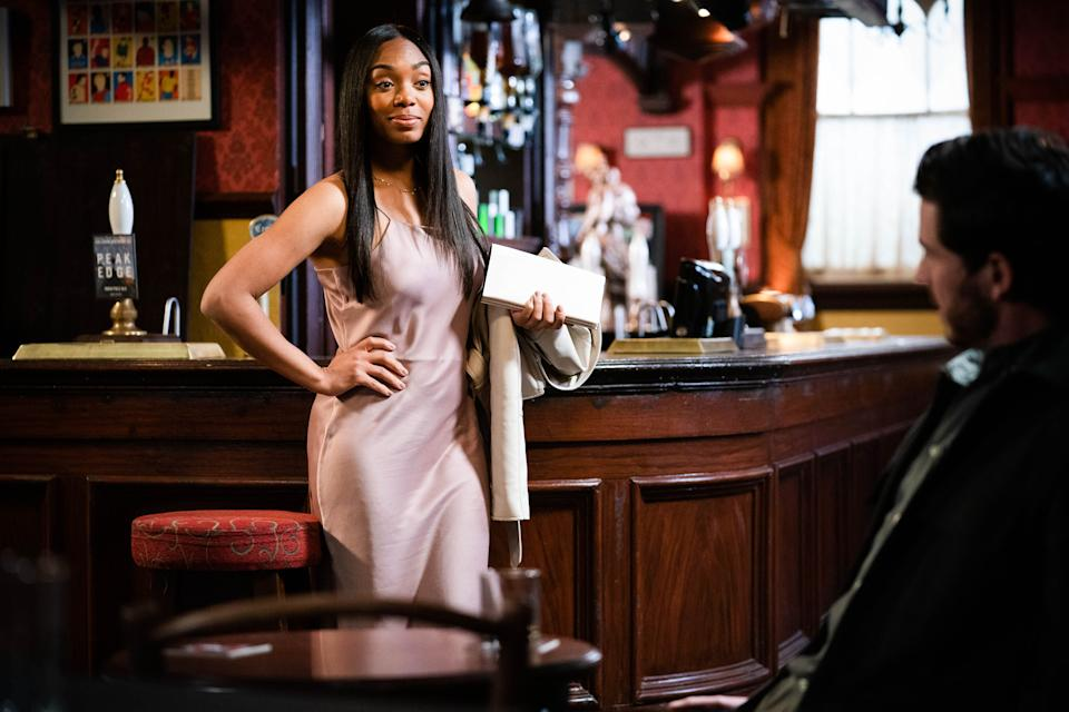 WARNING: Embargoed for publication until 00:00:01 on 06/07/2021 - Programme Name: EastEnders - July-September 2021 - TX: 15/07/2021 - Episode: EastEnders - July-September 2021 - 6307 (No. 6307) - Picture Shows: ***EMBARGOED TILL TUESDAY 6TH JULY 2021*** Chelsea Fox (ZARAAH ABRAHAMS), Gray Atkins (TOBY-ALEXANDER SMITH) - (C) BBC - Photographer: Kieron McCarron/Jack Barnes