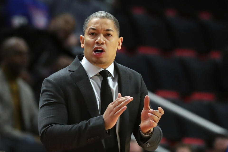 FILE - In this Thursday, Oct. 25, 2018, file photo, Cleveland Cavaliers head coach Tyronn Lue gestures during the first half of an NBA basketball game against the Detroit Pistons, in Detroit. Tyronn Lue has agreed in principle to become the next coach of the Los Angeles Clippers. Final terms were still being worked on, according to the person who spoke to The Associated Press on condition of anonymity Thursday, Oct. 15, 2020, because no contract had been signed. (AP Photo/Carlos Osorio, File)