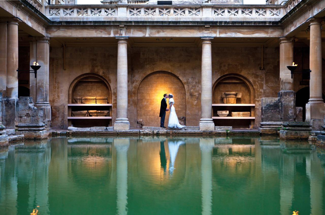 "<p>Amaze your guests by tying the knot in <a href=""http://www.bathvenues.co.uk/weddings-roman-baths-and-pump-room"">The Roman Baths and Pump Room</a>, which comes with flickering torch light, steaming waters and 2,000 year old paving. Based in Bath, you can get married here outside of opening hours and have a wedding breakfast in the elegant Georgian pump room. Ceremony and reception from £1,750 (maximum capacity of 80 guests). [Photo: Lee Niel]</p>"
