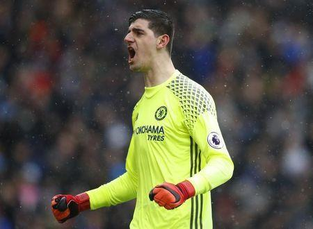 Football Soccer Britain - Burnley v Chelsea - Premier League - Turf Moor - 12/2/17 Chelsea's Thibaut Courtois celebrates their first goal Reuters / Phil Noble Livepic