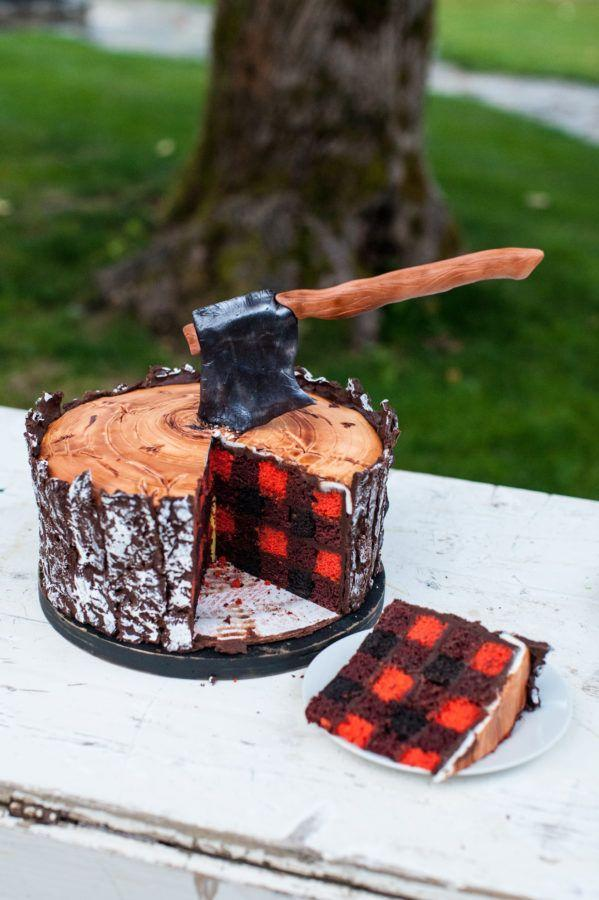 """<p>If his closet is flannel paradise, this lumberjack-inspired cake's a no-brainer.</p><p><em><a href=""""http://jennycookies.com/2016/09/lumberjack-dessert-table/"""" rel=""""nofollow noopener"""" target=""""_blank"""" data-ylk=""""slk:Get the recipe from Jenny Cookies »"""" class=""""link rapid-noclick-resp"""">Get the recipe from Jenny Cookies »</a></em></p>"""
