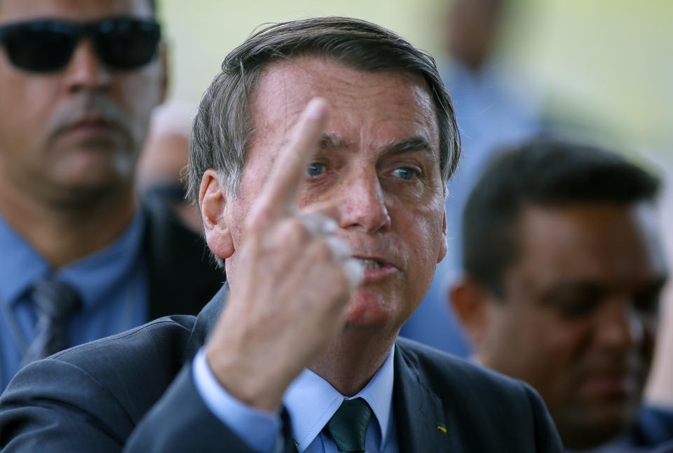 Brazilian President Jair Bolsonaro speaks to the press about the Iran crisis, outside the Alvorada Palace in Brasilia, Brazil, on January 7, 2020. - The Brazilian Foreign Ministry reported that the Iranian government summoned its Charge d'Affaires in Tehran, following official statements by the government of Jair Bolsonaro backing the US attack in Baghdad in which popular Iranian general Qasem Soleimani was killed. (Photo by Sergio LIMA / AFP) (Photo by SERGIO LIMA/AFP via Getty Images)