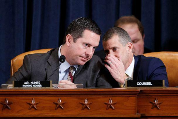 PHOTO: Ranking member Rep. Devin Nunes, talks with minority legal counsel Steve Castor, right, on Capitol Hill in Washington, Nov. 19. 2019. (Shawn Thew/REUTERS)