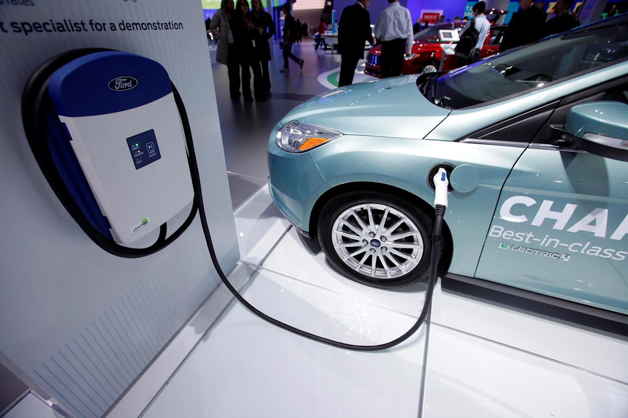 A Ford home charging unit is seen at the North American International Auto Show in Detroit, Michigan, Thursday, Jan. 17, 2013. (J.D. Pooley/Sipa USA/dapd/AP Photo)