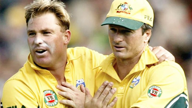 Pictured here, Shane Warne and Steve Waugh playing for Australia in an ODI.