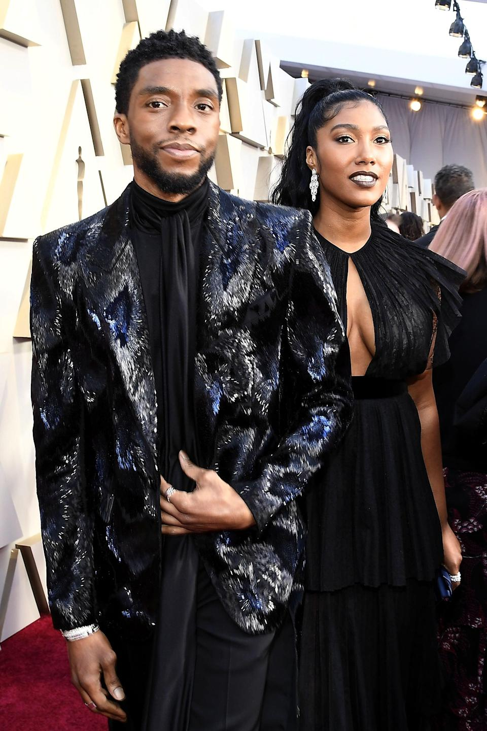 HOLLYWOOD, CALIFORNIA - FEBRUARY 24: (L-R) Chadwick Boseman and Taylor Simone Ledward attend the 91st Annual Academy Awards at Hollywood and Highland on February 24, 2019 in Hollywood, California. (Photo by Kevork Djansezian/Getty Images)