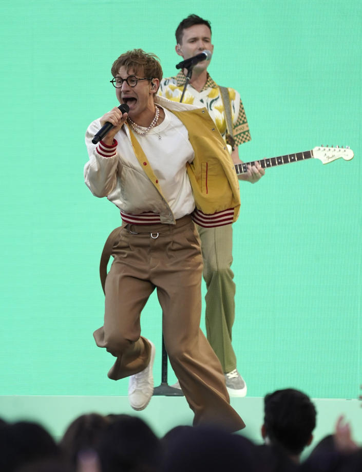 Dave Bayley, in front, and Drew MacFarlane, of Glass Animals, perform at the Billboard Music Awards on Sunday, May 23, 2021, at the Microsoft Theater in Los Angeles. (AP Photo/Chris Pizzello)