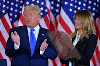 US President Donald Trump and First Lady Melania Trump in the East Room of the White House on election night