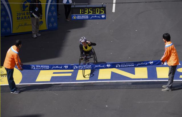 Tatyana McFadden, of the U.S. reacts as she wins the women's wheelchair division at the 118th running of the Boston Marathon in Boston