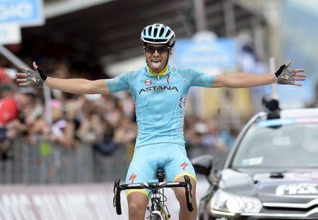 Landa Meana of Spain celebrates as he crossing the finish line the 16th stage of the 98th Giro d'Italia