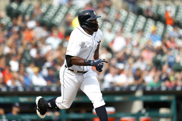 Detroit Tigers' Christin Stewart watches his solo home run in the third inning of a baseball game against the Minnesota Twins in Detroit, Saturday, June 8, 2019. (AP Photo/Paul Sancya)