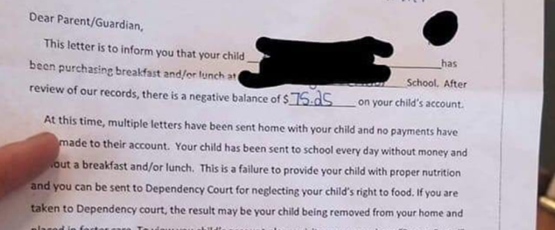 A Pennsylvania school district is under fire after sending parents a letter in which they threatened to report them to Dependency Court if they did not pay their children's delinquent lunch debt. (Photo: Facebook)