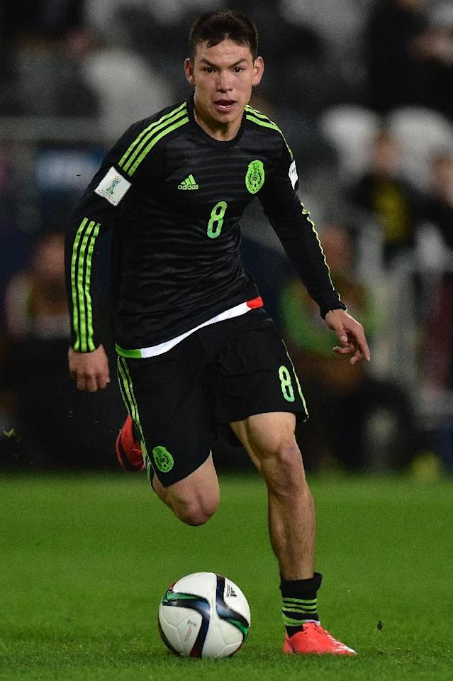 Hirving Lozano of Mexico, seen in action during a match against Uruguay, at Otago Regional Stadium in Dunedin, in June 2015 (AFP Photo/Marty Melville)