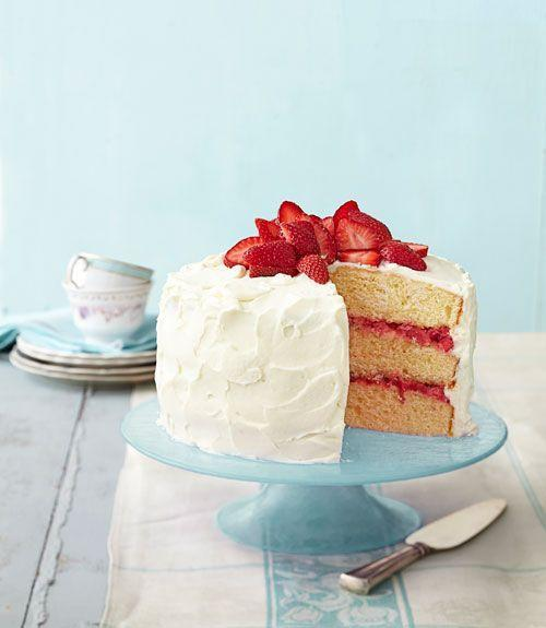 """<p>Move over, strawberry rhubarb pie! This luscious vanilla cake, layered with fresh compote and frosted with sweet cream cheese icing, is sure to become a family favorite.</p><p><em><a href=""""https://www.womansday.com/food-recipes/food-drinks/recipes/a39888/strawberry-rhubarb-layer-cake-recipe-ghk0414/"""" rel=""""nofollow noopener"""" target=""""_blank"""" data-ylk=""""slk:Get the recipe for Strawberry Rhubarb Layer Cake"""" class=""""link rapid-noclick-resp"""">Get the recipe for Strawberry Rhubarb Layer Cake</a>.</em></p>"""
