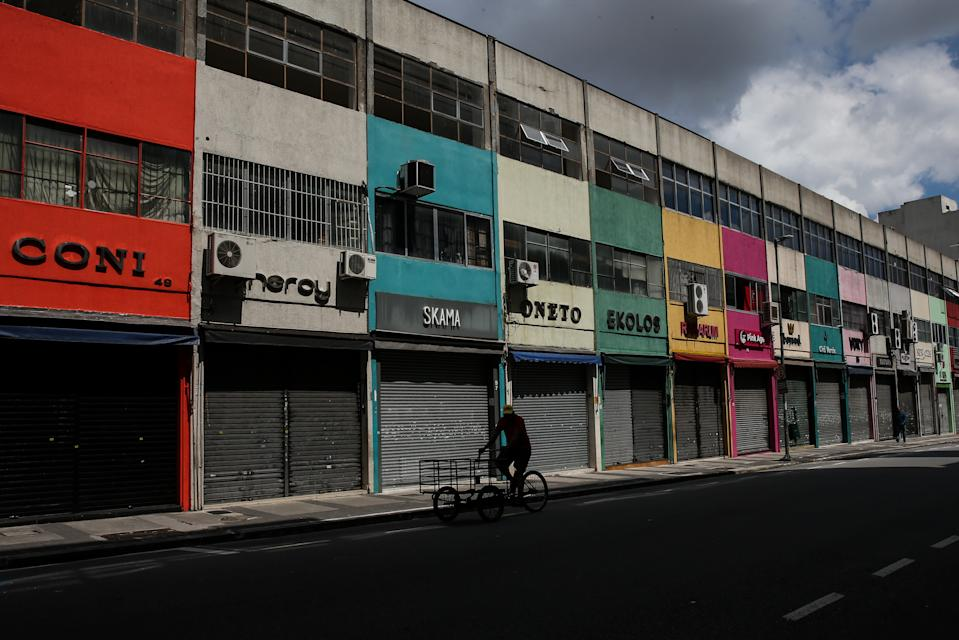 SAO PAULO, BRAZIL - MARCH 08: View of shuttered shops in downtown during the first business day after the state of Sao Paulo declared the most restrictive