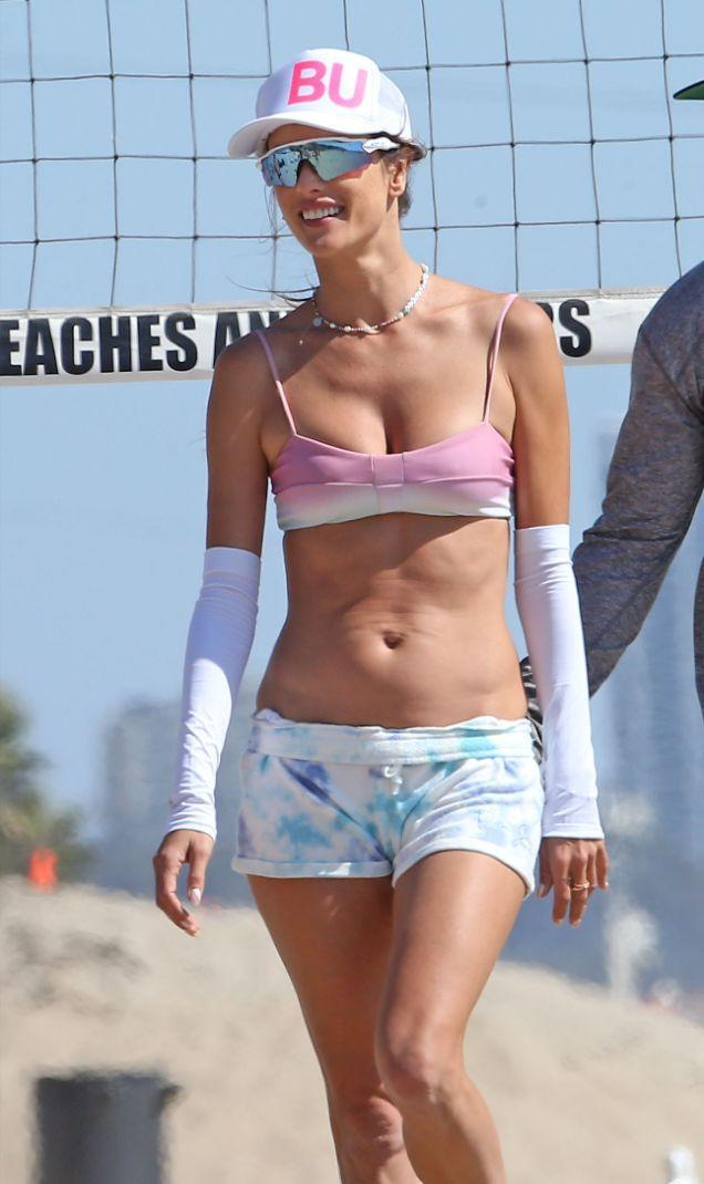 Alessandra Ambrosio plays a game of beach volleyball in Santa Monica, Calif., Sept. 18. - Credit: TheCelebrityfinder/MEGA