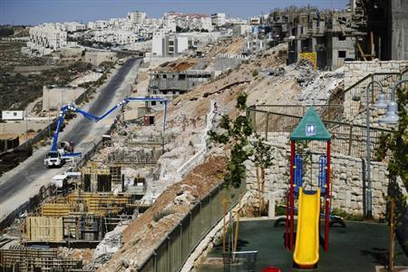 A general view of apartment blocks under construction is seen in the West Bank Jewish settlement of Beitar Ilit, near Bethlehem