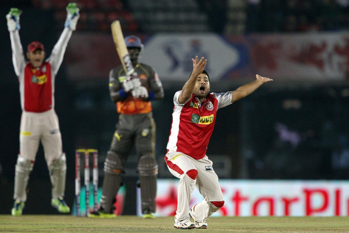 Piyush Chawla appeals successfully for the wicket of Darren Sammy during match 59 of of the Pepsi Indian Premier League between The Kings XI Punjab and the Sunrisers Hyderabad held at the PCA Stadium, Mohali, India on the 11th May 2013.(BCCI)