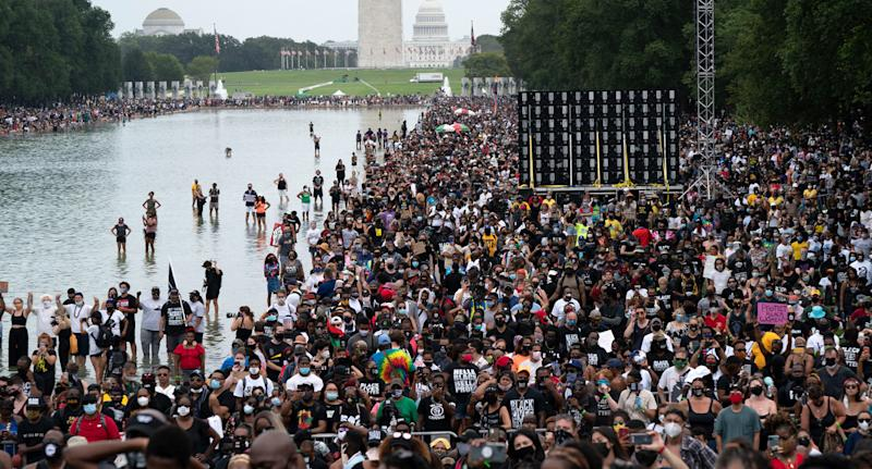 People gather at Lincoln Memorial to attend the March on Washington. Source: AAP