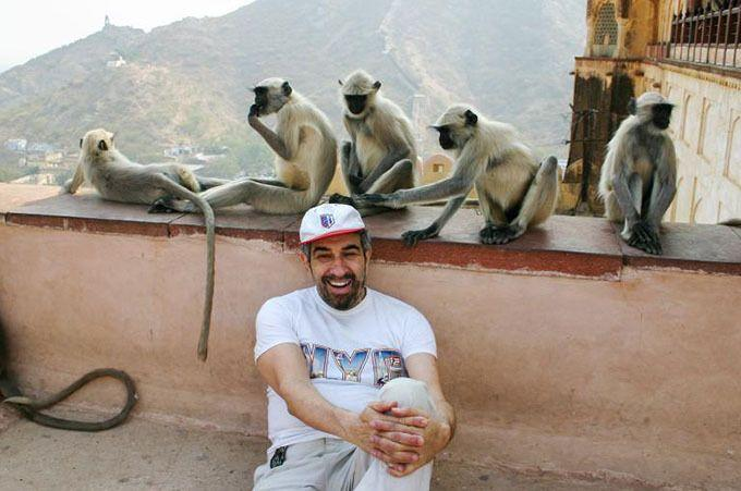 With some monkeys at a temple in India. Photo: Albert Podell