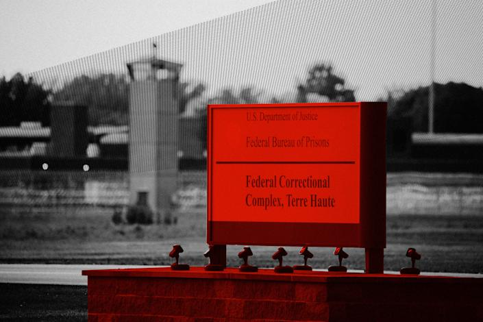 View of a sign outside the Terre Haute Federal Correctional Complex where death row inmates await execution. (Photo: Illustration: Damon Dahlen/HuffPost; Photos: Getty)