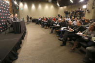 San Francisco 49ers owner Jed York, left, and general manager Trent Baalke speak during a news conference at 49ers football headquarters in Santa Clara, Calif., on Monday, Dec. 29, 2014. (AP Photo/Tony Avelar)