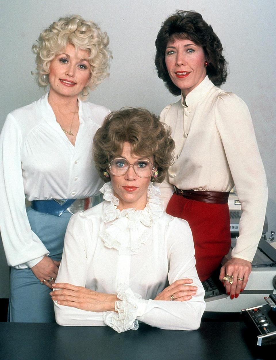 <p>The ultimate A-list threesome, Dolly Parton, Lily Tomlin and Fonda, turn the tables on their awful boss in the 1980 film <em>Nine to Five</em>.</p>