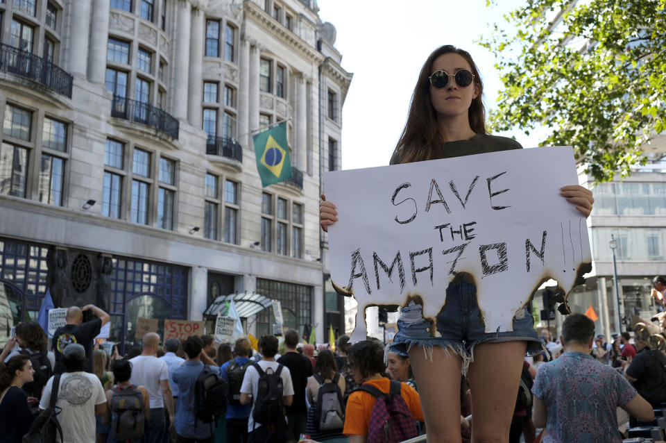 An environmental activist seen holding a placard outside the Brazilian embassy in London (Picture: PA)