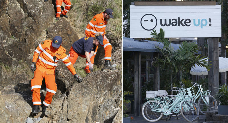 A split photo showing SES workers searching cliffs in Byron Bay on the left. On the right is an exterior photo of Wake Up!, the hostel where Theo was staying before he vanished.