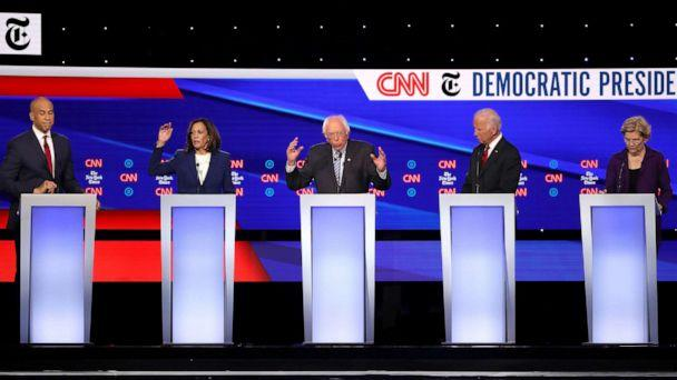 PHOTO: Democratic presidential hopefuls speak during the fourth Democratic primary debate at Otterbein University in Westerville, Ohio, Oct. 15, 2019. (Win Mcnamee/Getty Images)