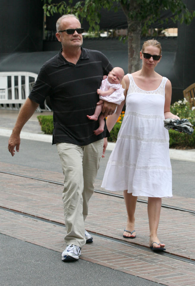 EXCLUSIVE: Kelsey Grammer with wife and new baby at The Grove in West Hollywood, CA.