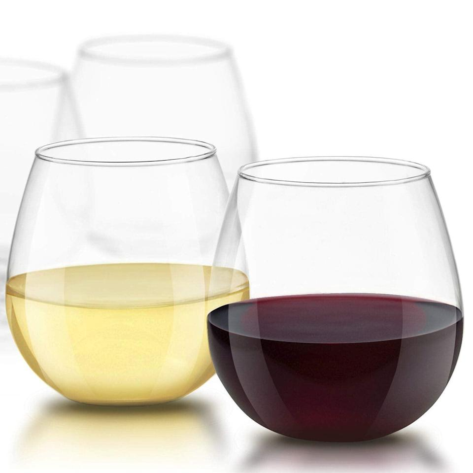 """<br><br><strong>JoyJolt</strong> Spirits Stemless Wine Glasses (Set of 4), $, available at <a href=""""https://amzn.to/3oxB9oe"""" rel=""""nofollow noopener"""" target=""""_blank"""" data-ylk=""""slk:Amazon"""" class=""""link rapid-noclick-resp"""">Amazon</a>"""