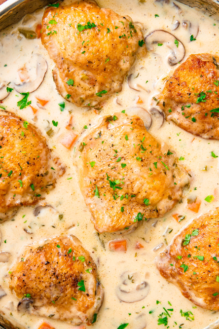 """<p>The sauce in this dish is pure heaven—you'll want to pour it over everything.</p><p>Get the <a href=""""https://www.delish.com/uk/cooking/recipes/a30178181/easy-chicken-fricassee-recipe/"""" rel=""""nofollow noopener"""" target=""""_blank"""" data-ylk=""""slk:Chicken Fricassee"""" class=""""link rapid-noclick-resp"""">Chicken Fricassee</a> recipe.</p>"""