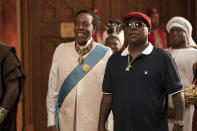 "Arsenio Hall, left, and Tracy Morgan appear in a scene from ""Coming 2 America."" (Quantrell D. Colbert/Paramount Pictures via AP)"