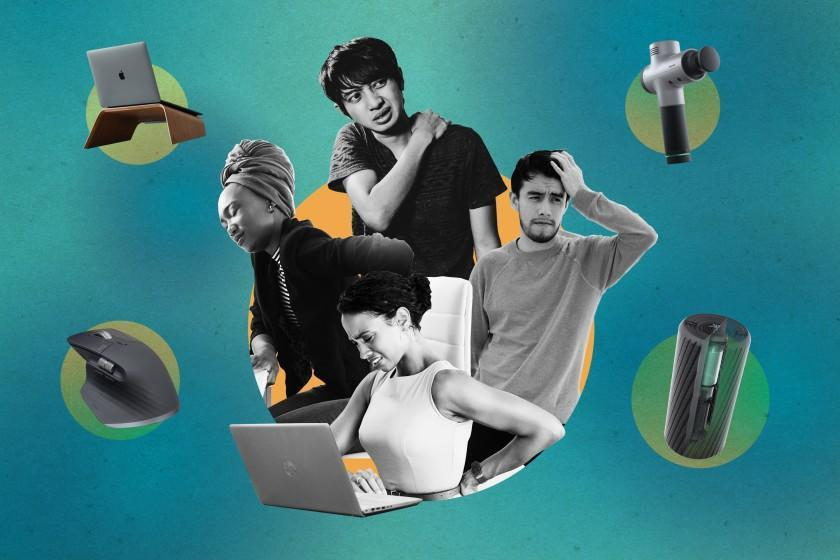 Photo illustration of an inner circle of four people with back, neck or head pain and an outer circle of ergonomic office products.