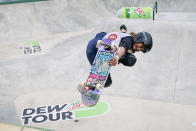 Sky Brown, of Great Britain, practices for an Olympic qualifying skateboarding event at Lauridsen Skatepark, Wednesday, May 19, 2021, in Des Moines, Iowa. The questions under the magnifying glass at this week's Dew Tour — one of the last major qualifying events for the games in Tokyo in July — is whether the Olympics is ready for skateboarding and, more tellingly, whether skateboarding is ready for the Olympics. (AP Photo/Charlie Neibergall)