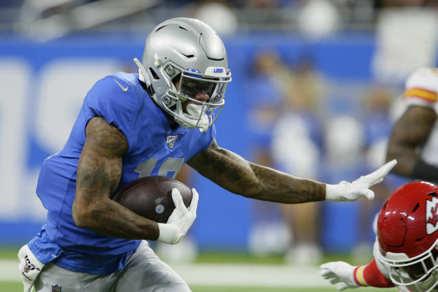 Detroit Lions wide receiver Kenny Golladay rushes during the first half of an NFL football game against the Kansas City Chiefs, Sunday, Sept. 29, 2019, in Detroit. (AP Photo/Duane Burleson)